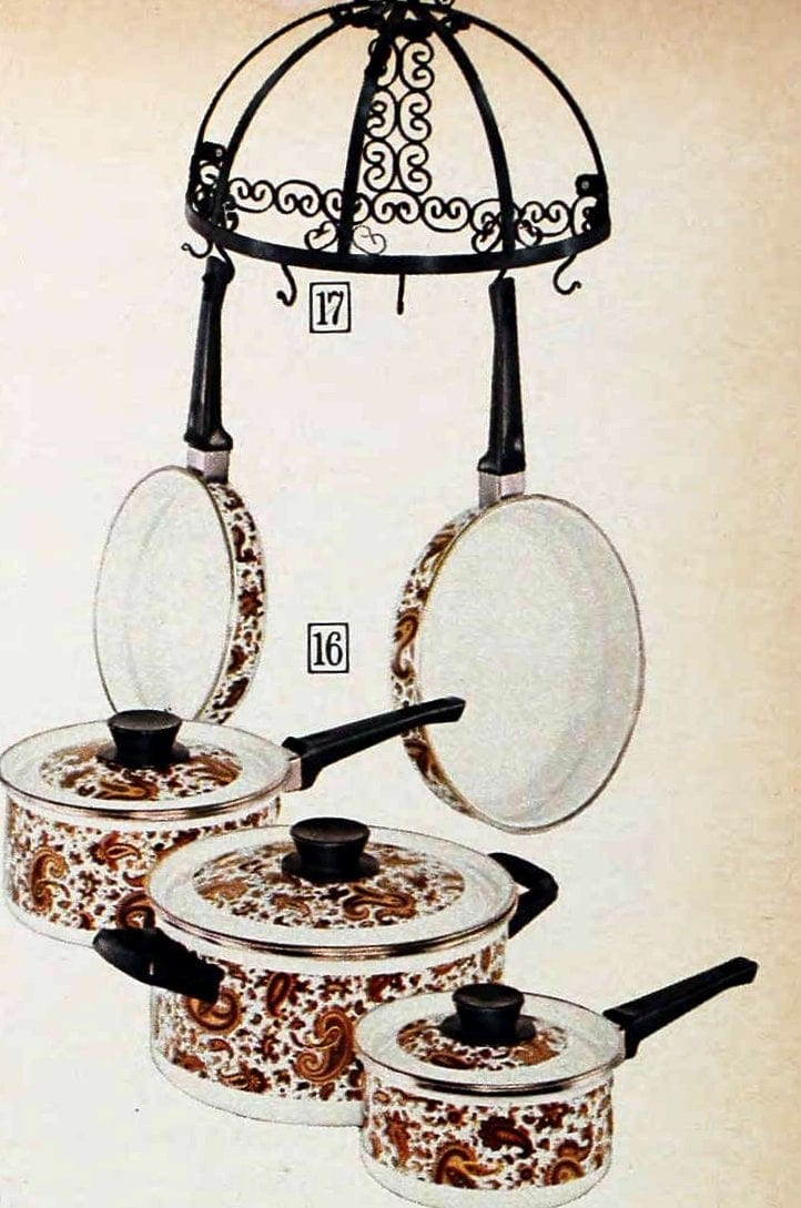 Paisley pots and pans and a retro hanging rack from the 1970s