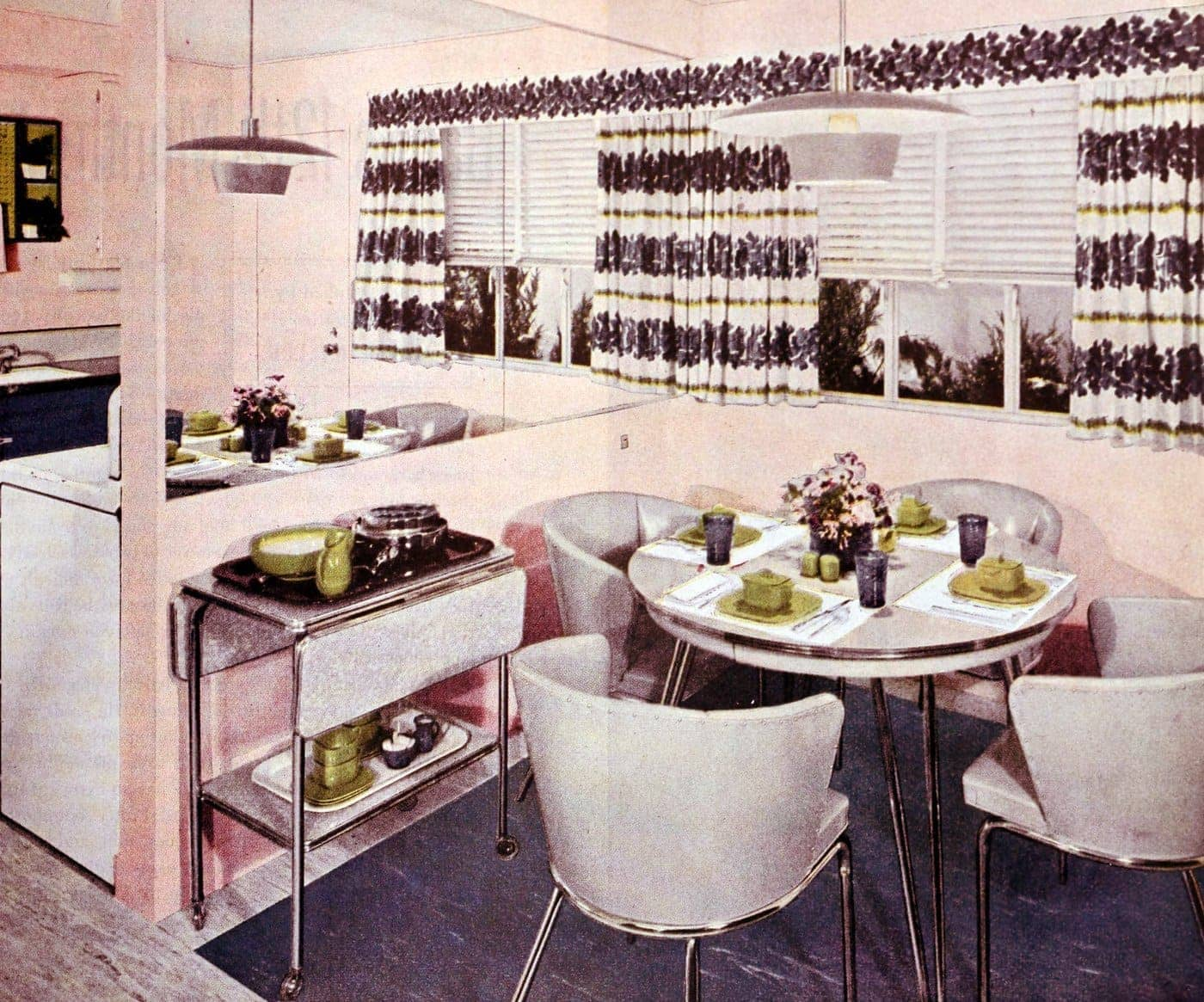 Pale pink vintage kitchen from the fifties