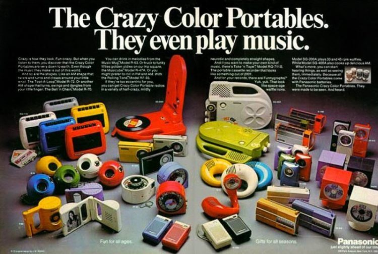 Panasonic crazy color portable radios from the 70s 750x503