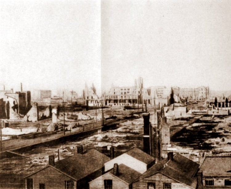 Panorama frame 1 from after the Great Chicago Fire in 1871