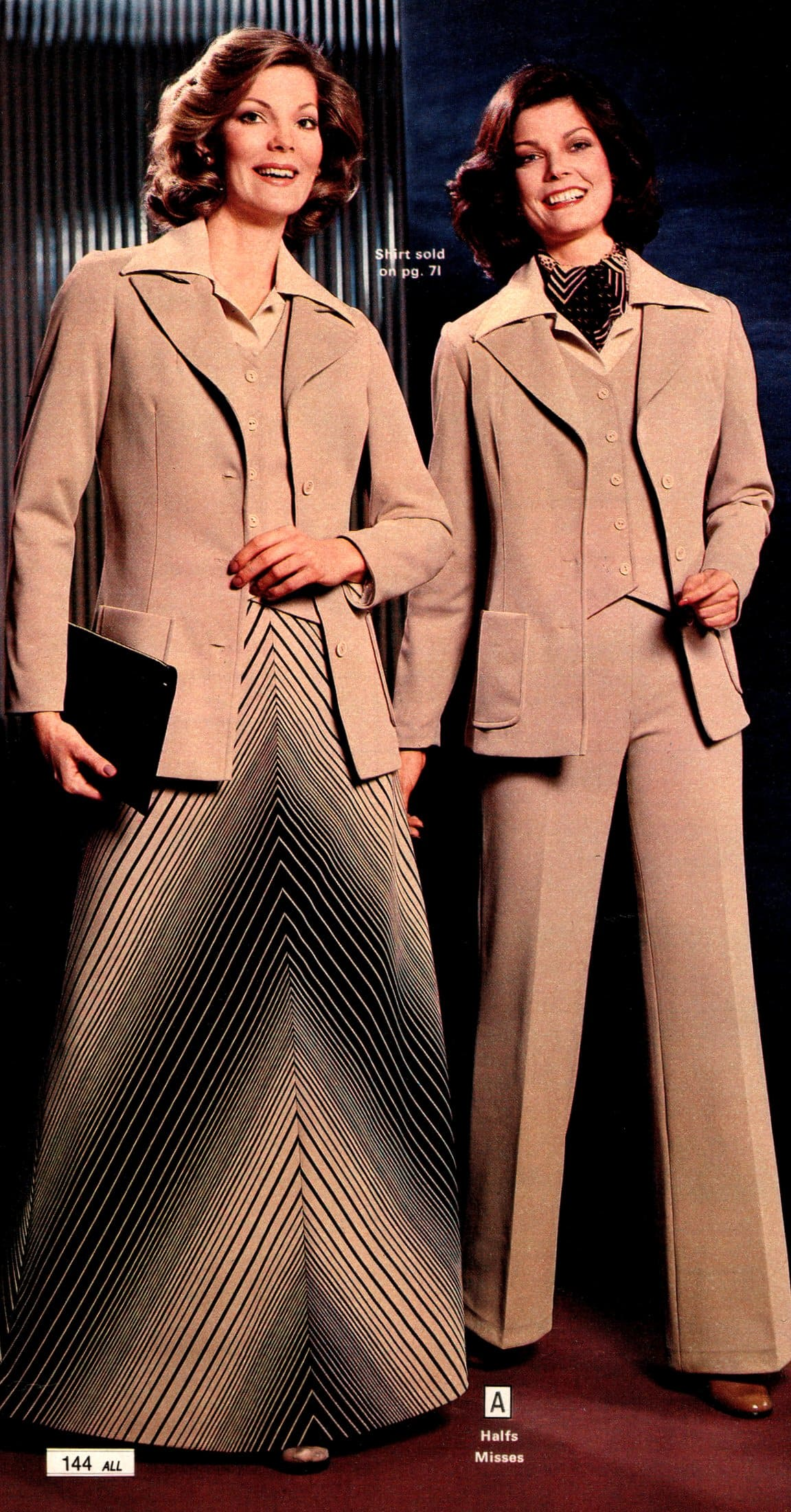 Pantsuit and suit with a skirt - Vintage fashion for women in tan (1979)