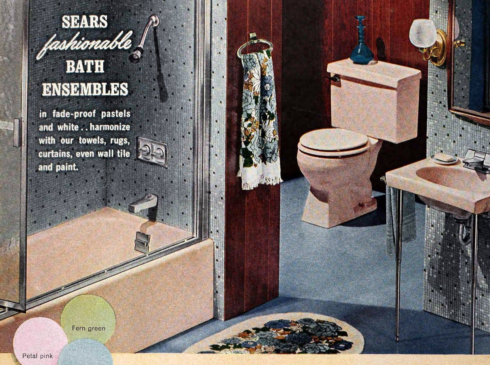 Parchment beige vintage 1960s bathroom suite with blue mosaic tile walls (1965)
