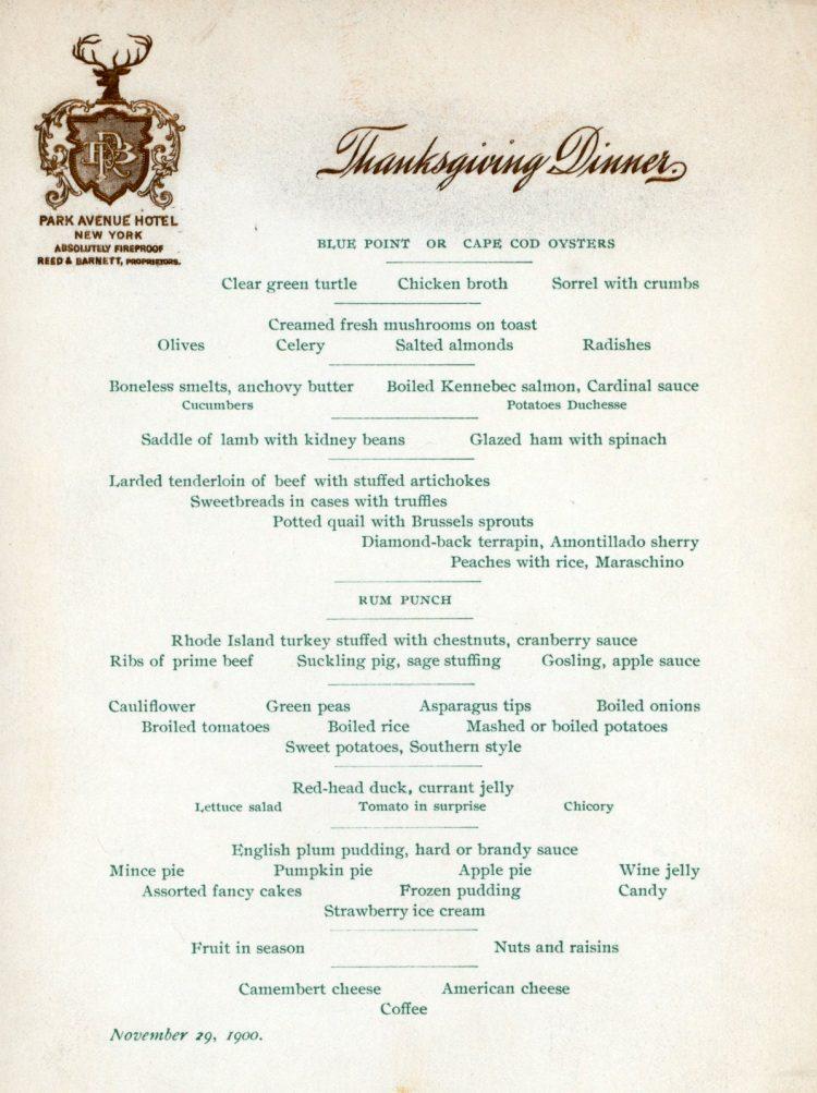 Park Avenue Hotel - Thanksgiving menu 1900