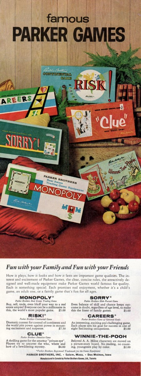 Parker Bros vintage board games from the 60s - 1962