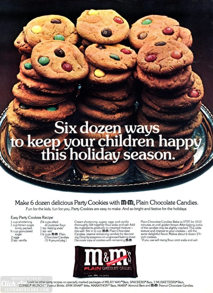 Party cookies for the holidays - vintage M&Ms ad from 1963