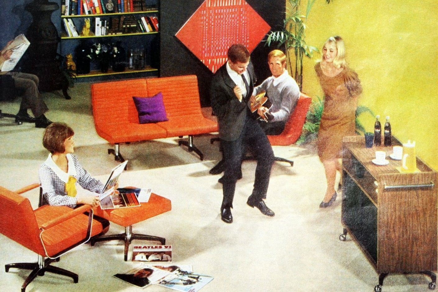Party time in a retro home with bright colors (1966)