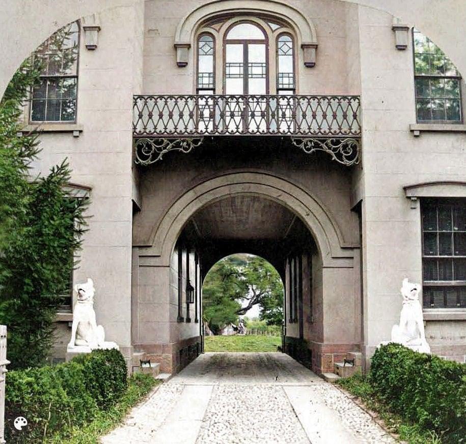 Passage into Connecticut villa-style mansion home - Sam Colt - Antique colorized photo