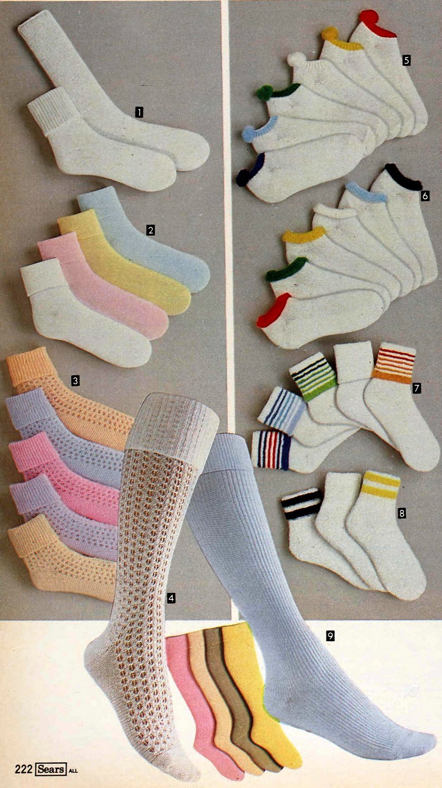 Pastel long and short socks, and socks with bright cuffs