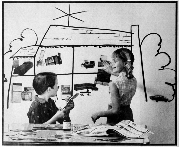 Pasting up a dream house fun for kids - ideas from the 1960s