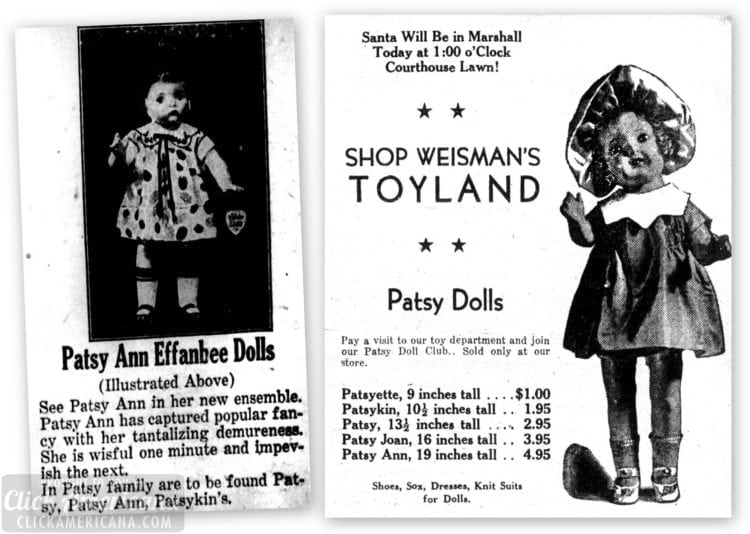 Patsy doll made by Effanbee - ads from the 1930s