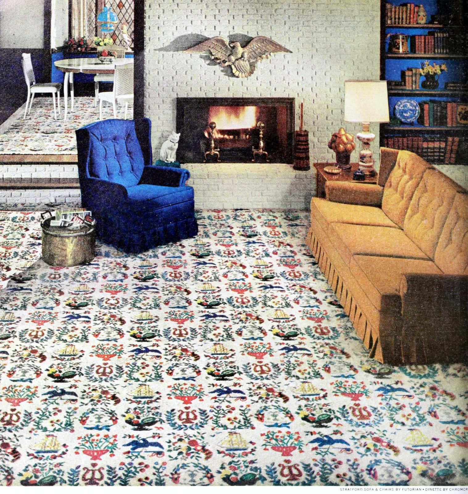 Patterned early American motif carpeting in a 1960s living room