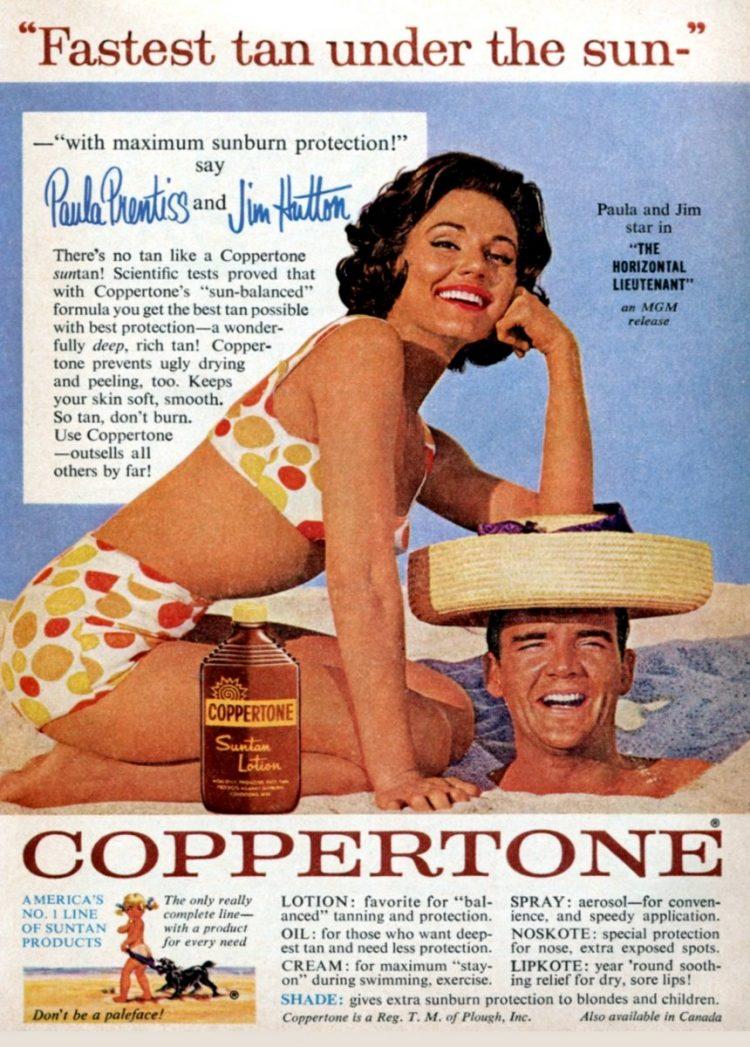 Paula Prentiss and Jim Hutton for Coppertone 1952