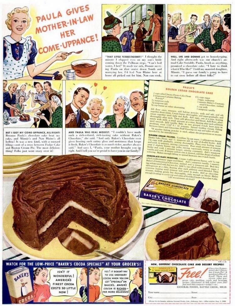 Paula's golden cream chocolate cake (1938)