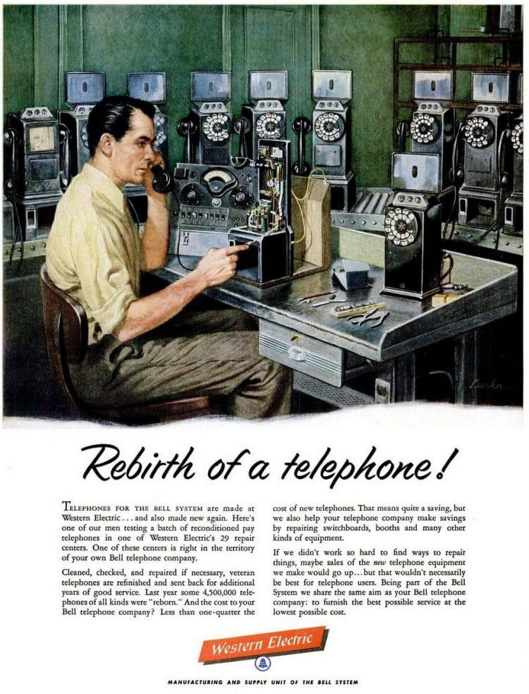 Payphone repair from 1954