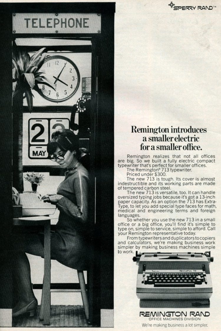 Payphone with secretary - Vintage typewriter ad from 1969