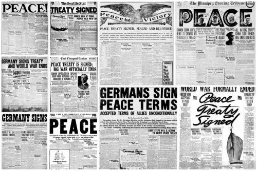 Peace declared American newspaper headlines from the very end of WWI in 1919