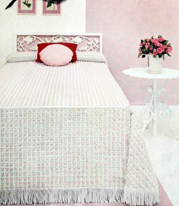 Peaceful rose pink and white vintage bedroom decor from the 1950s