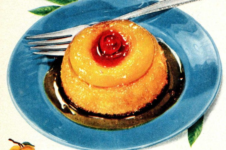 Peach topsy-turvies are peachy little upside down cakes (1950)