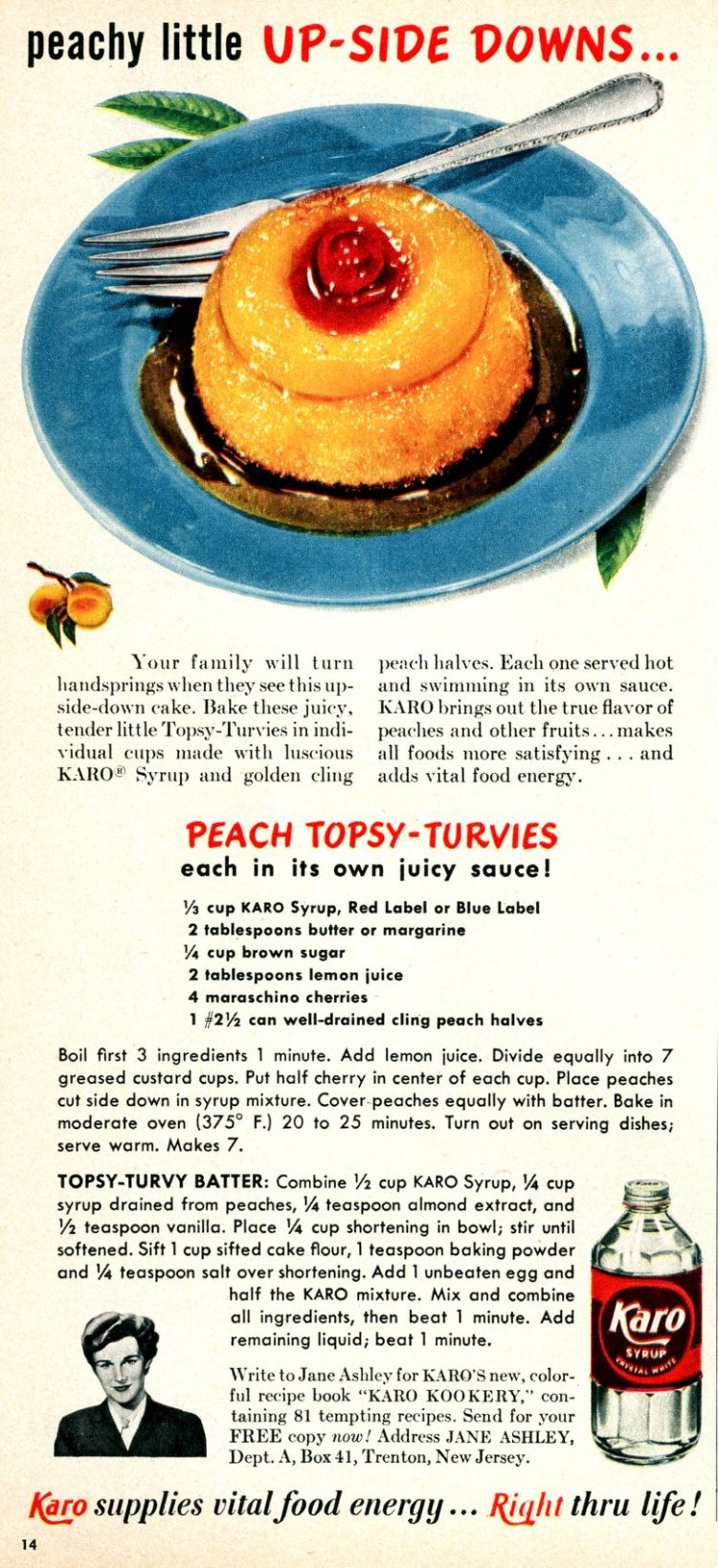 Peach topsy-turvies eretro recipe
