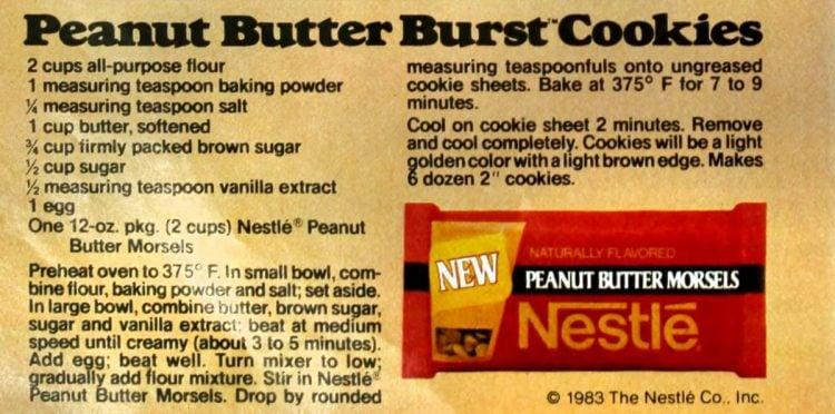 Peanut butter burst cookie recipe card