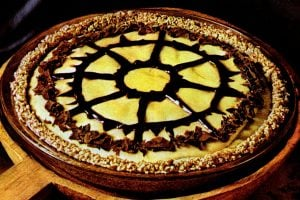 Peanut butter chiffon pie with pretzel crust (1972)