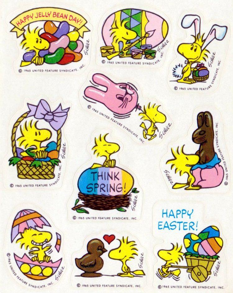 Peanuts Woodstock spring-Easter vintage sticker sheet