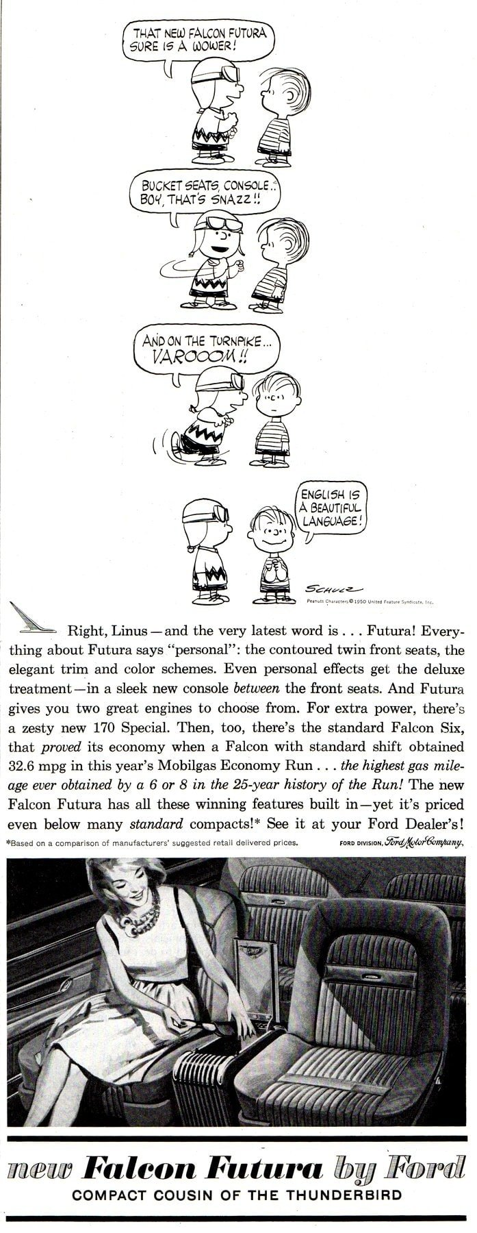 Peanuts characters - Charlie Brown & Linus for Ford Falcon Futura (1961)