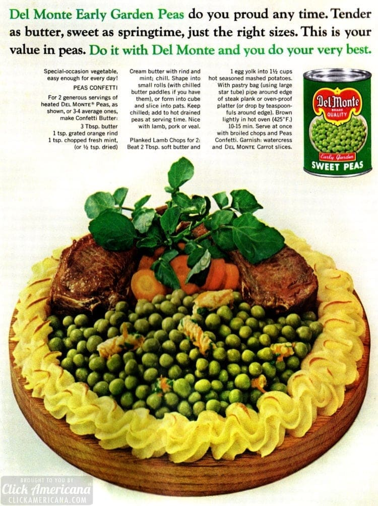 Peas confetti recipe with lamb chops - 1965