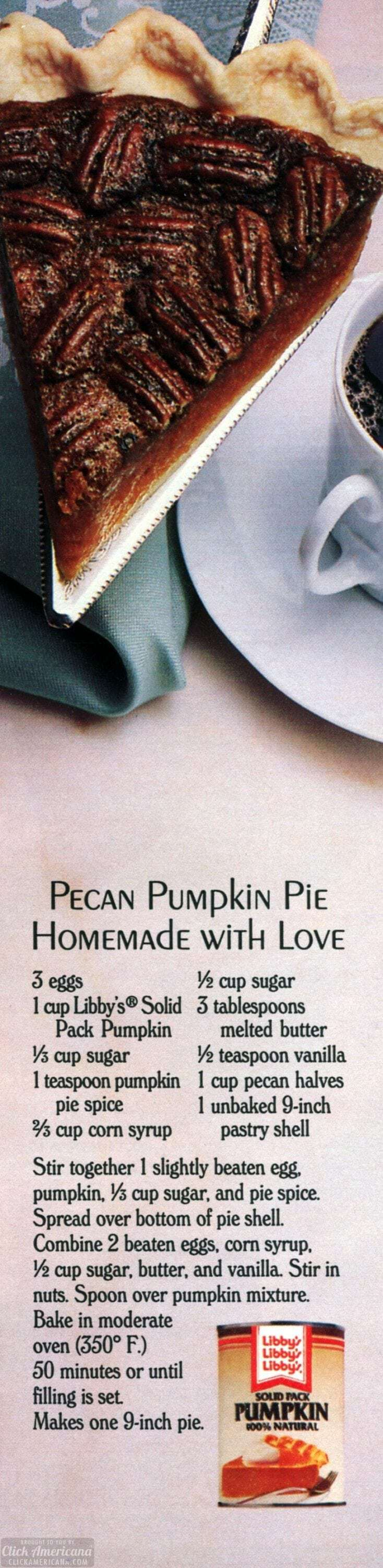 Pecan pumpkin pie recipe (1987)
