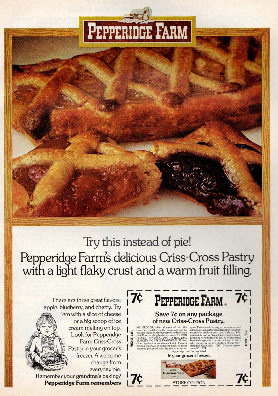 Pepperidge Farm Criss-Cross Pastry 1973