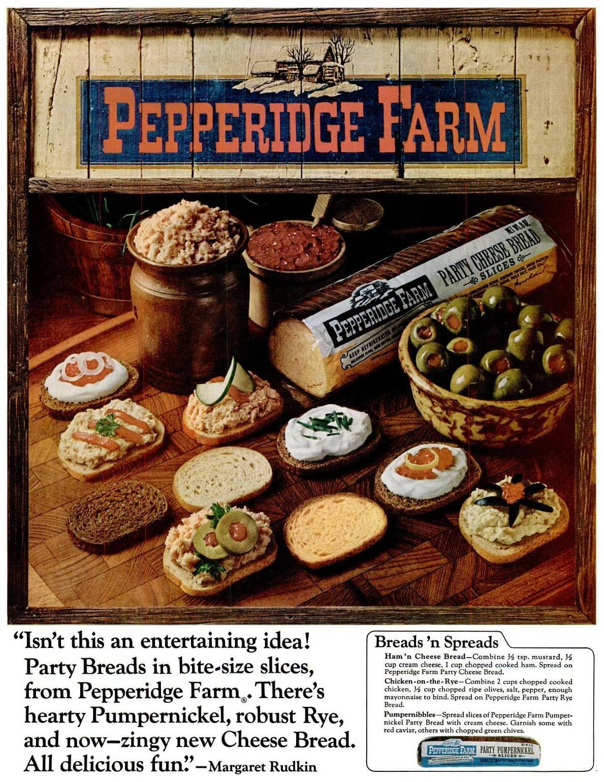 Pepperidge Farm Party Party Cheese Bread slices (1966)