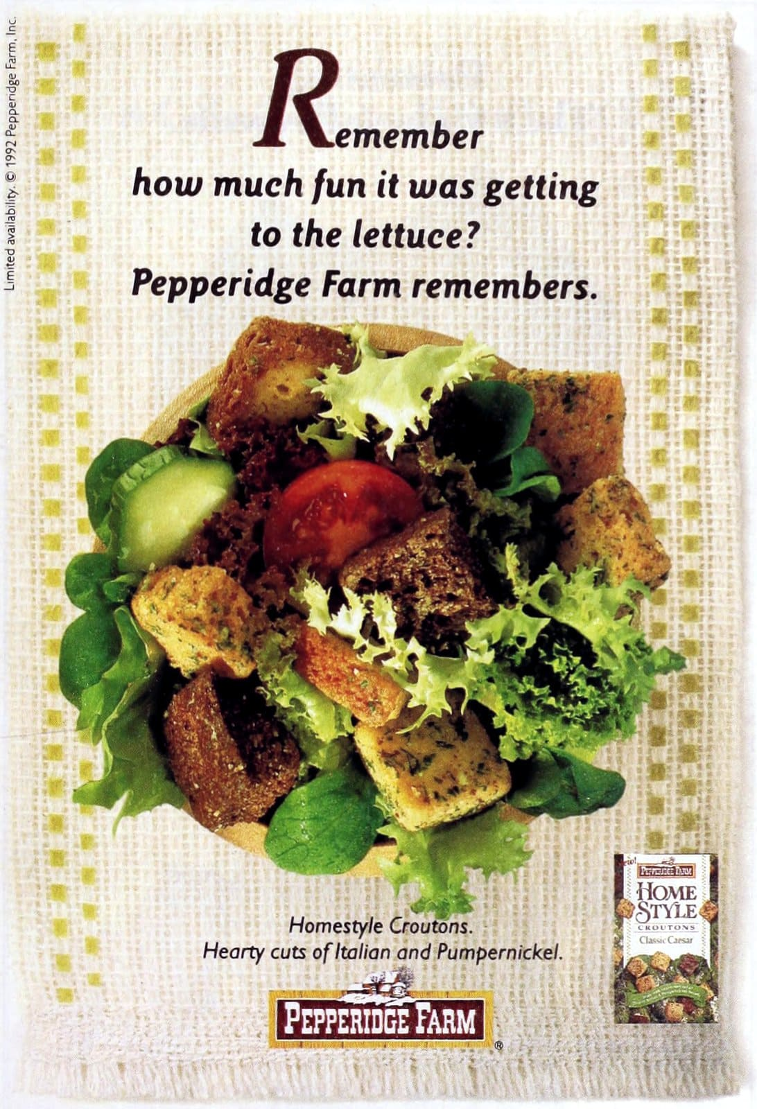 Pepperidge Farm croutons (1992)