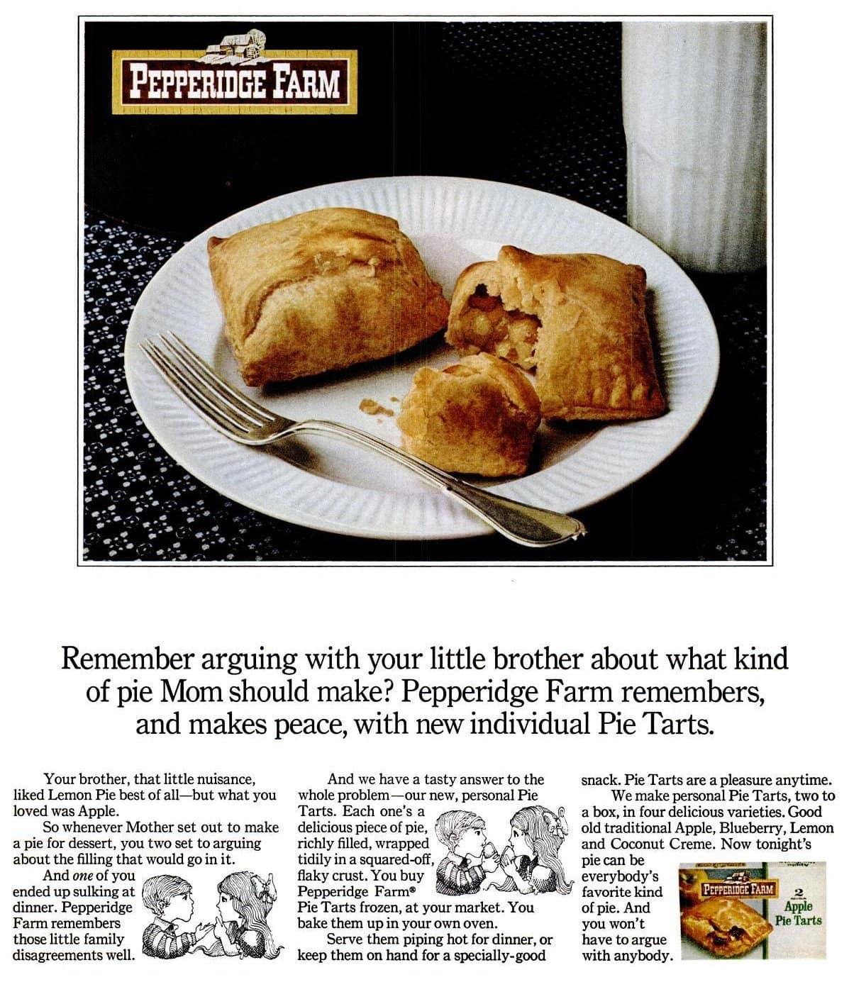 Pepperidge Farm individual fruit pie tarts (1969)