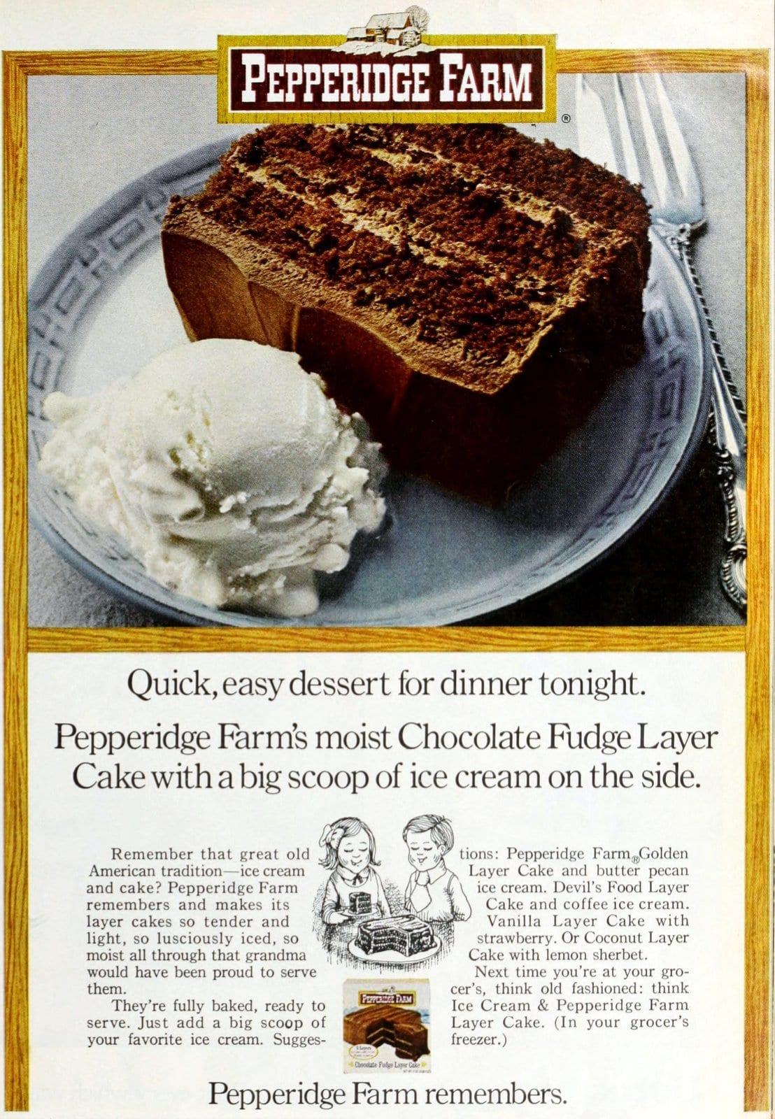 Pepperidge Farm vintage Chocolate Fudge Layer Cake (1972)