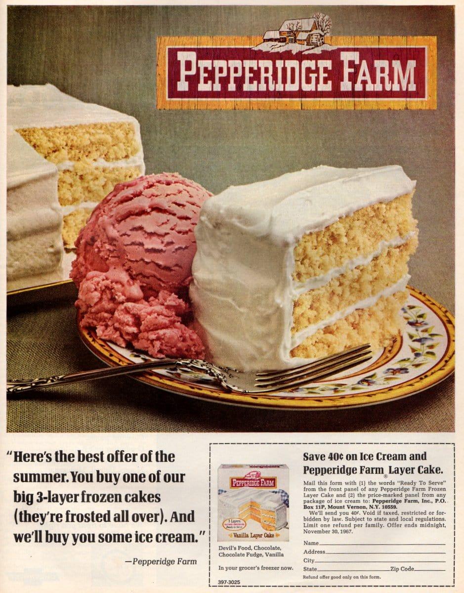 Ice cream and Pepperidge Farm frozen 3-layer cakes (1961)