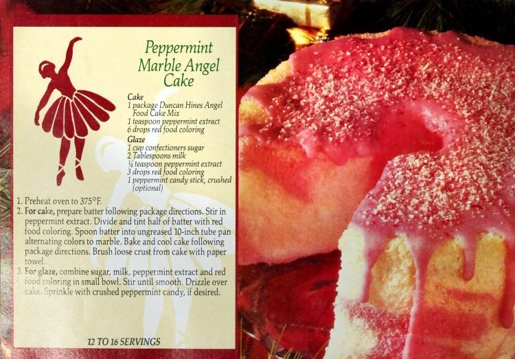 Peppermint marble angel cake retro recipe (1990)