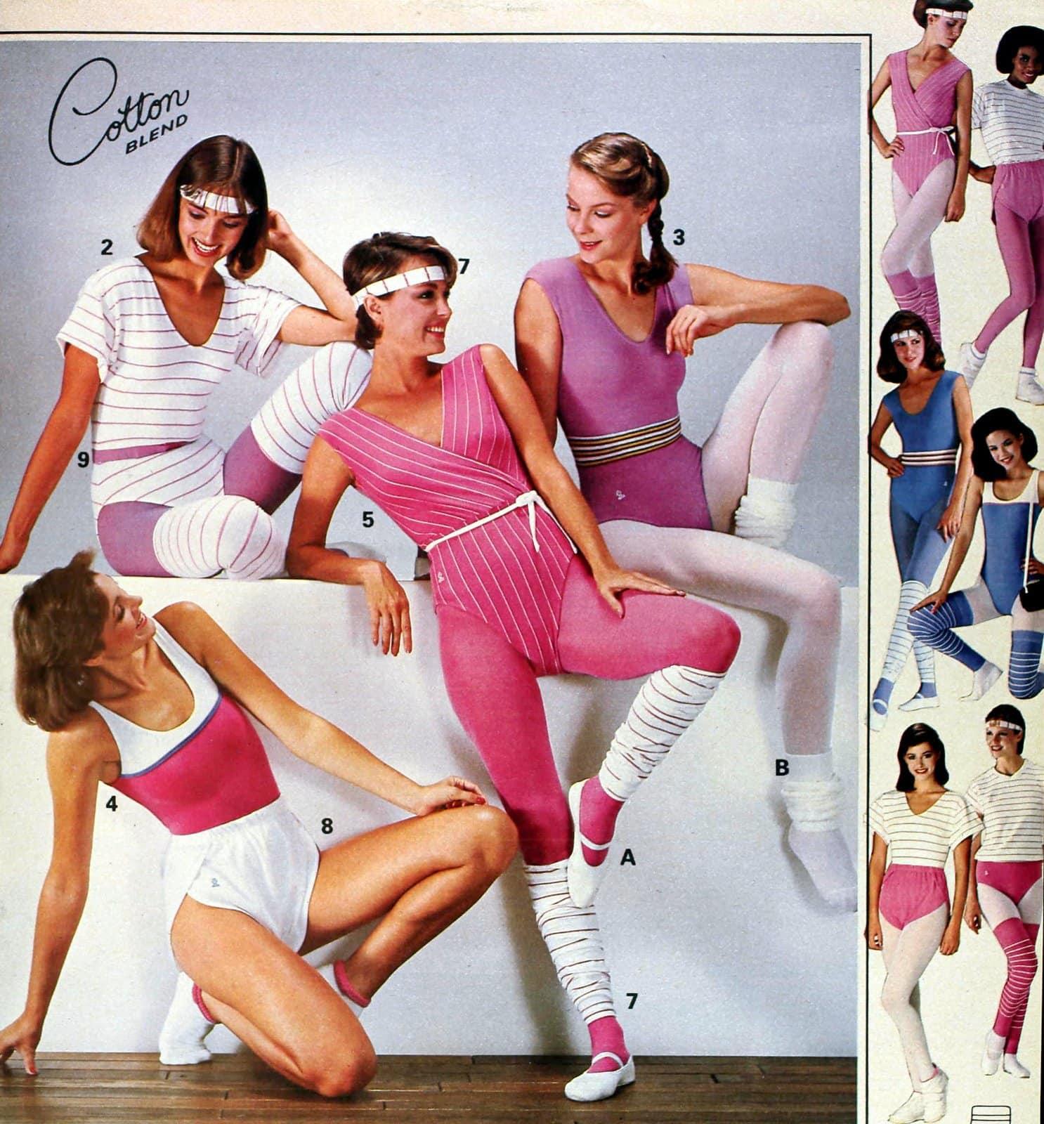 Peppy preppy pastel workout gear with leg warmers (1980s)