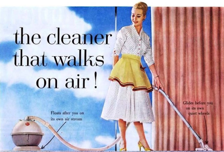 Perfect housewife with a Hoover Constellation vacuum - 1956