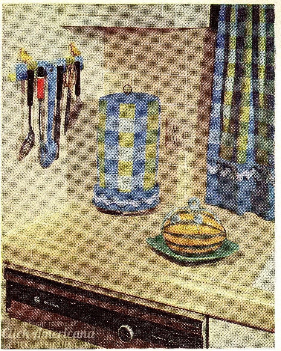 Smart styles to stitch: Perky plaid kitchen decor (1966)