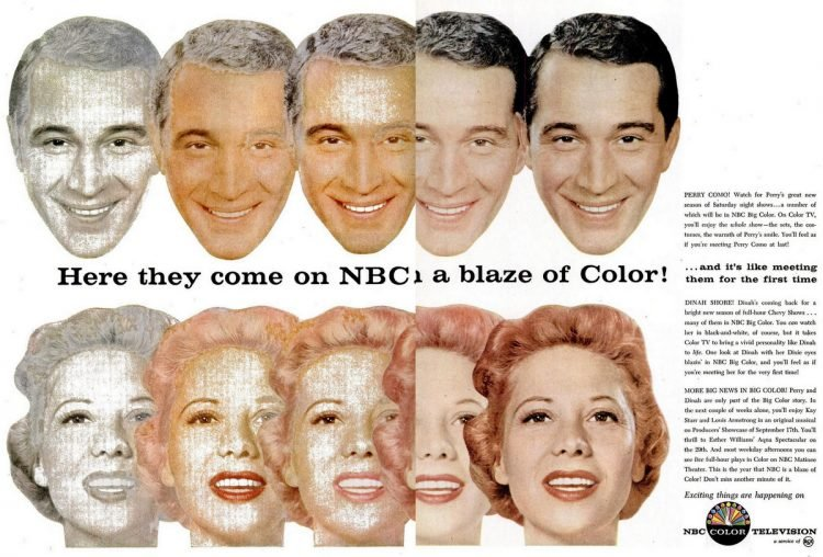Perry Como Dinah Shore on NBC on color TV (1956)