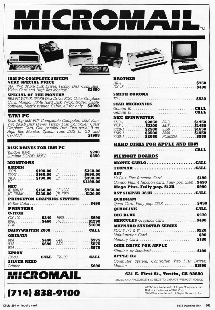 Micromail vintage PC price list from 1983