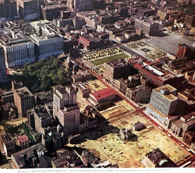 Philadelphia downtown construction and buildings in 1959