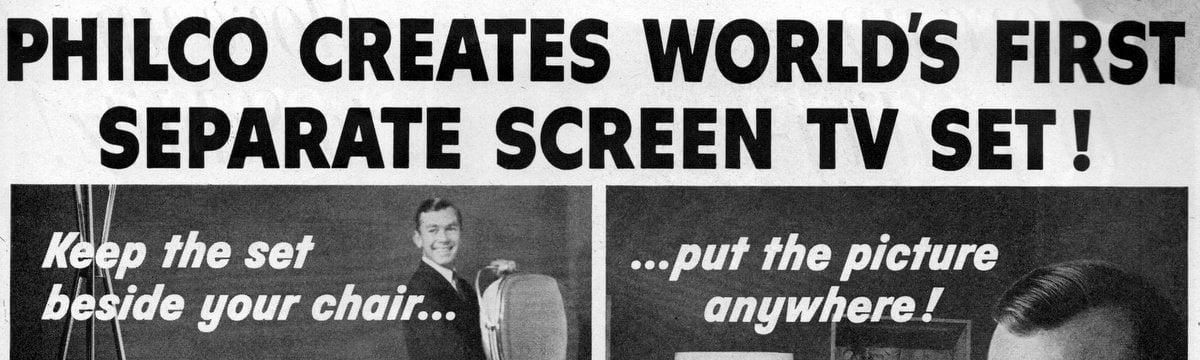 Philco creates world's first separate-screen TV set!