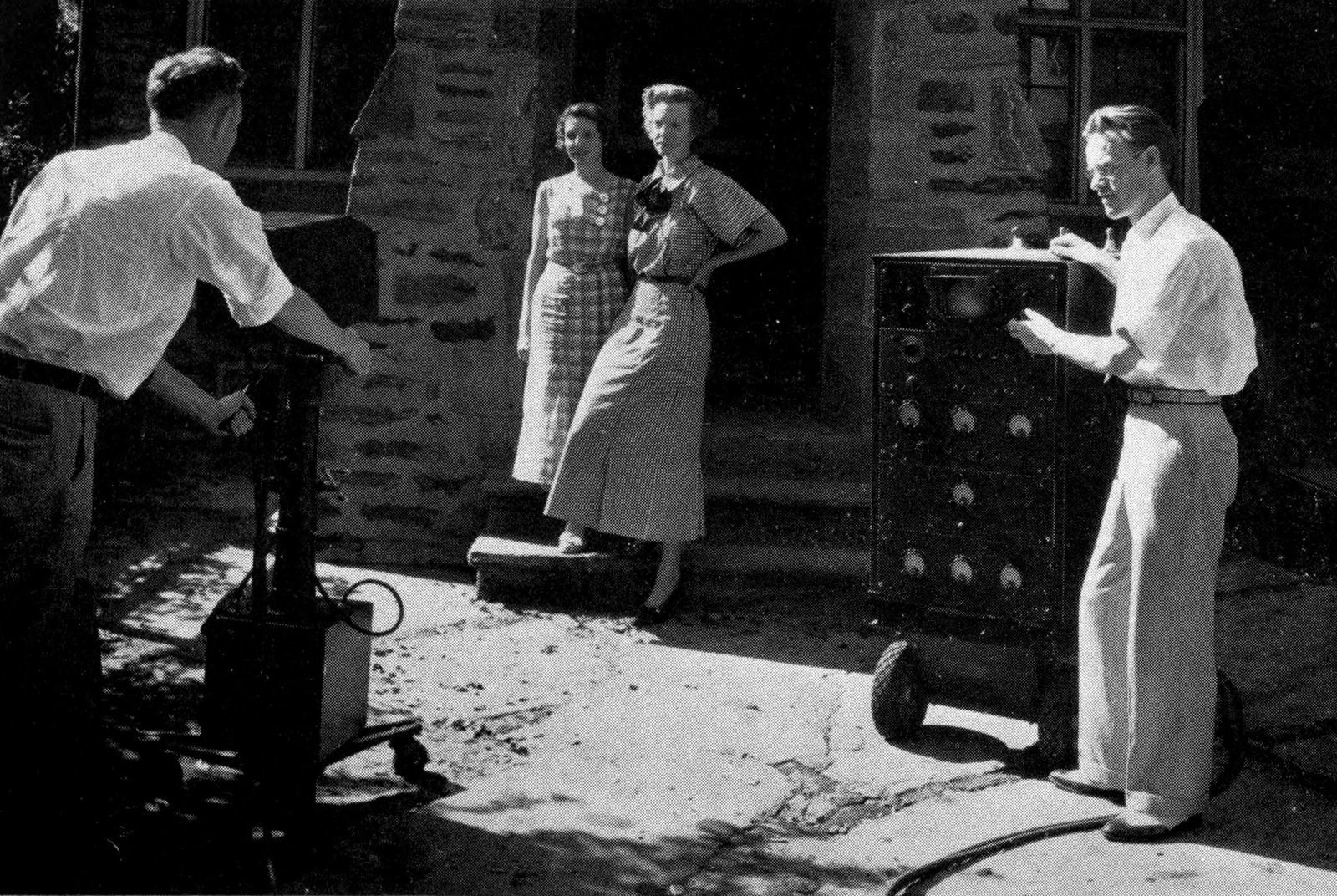 Philo T Farnsworth operating his first portable television transmitter unit