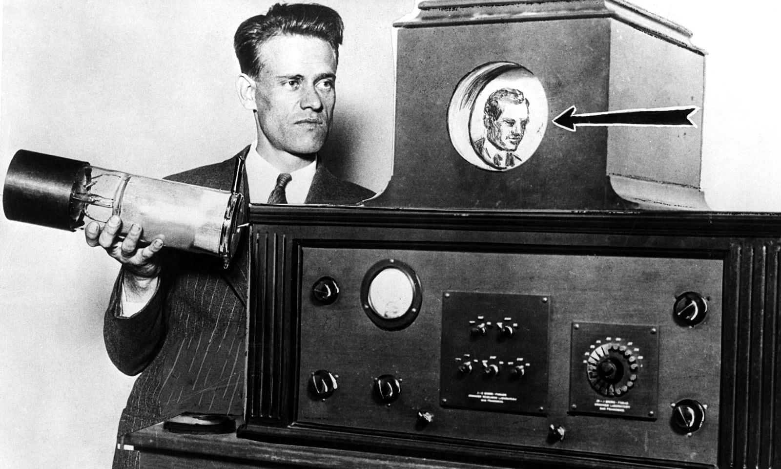 Philo T Farnsworth with his TV