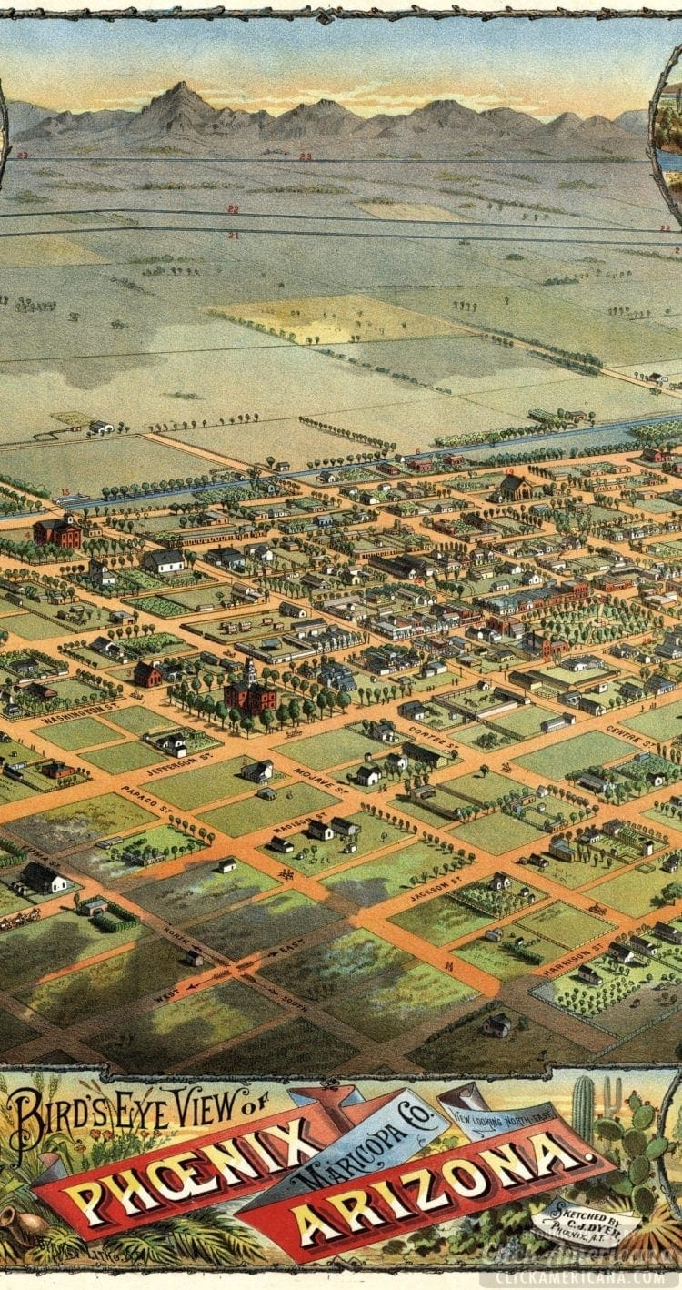 A Phoenix, Arizona birds-eye map view of the city from 1885