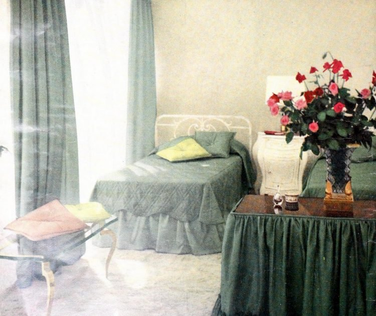 Photo of a 1950s master bedroom with green soft furnishings