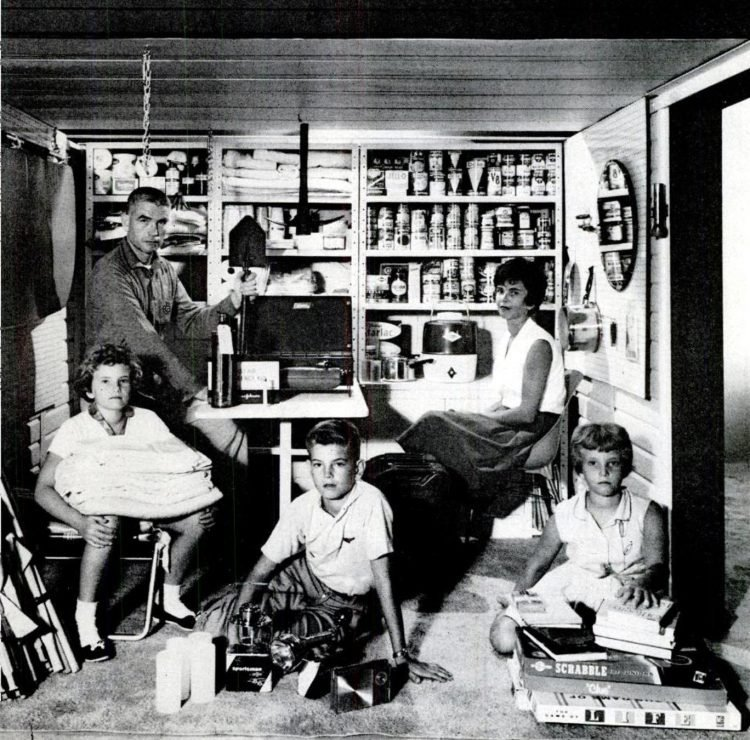 Photo of family in small residential bomb shelter - 1961