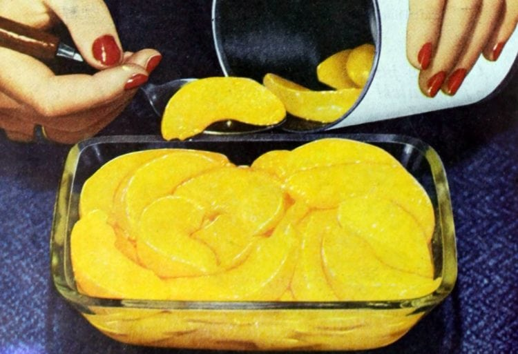 Picnic supper dessert - canned cling peaches