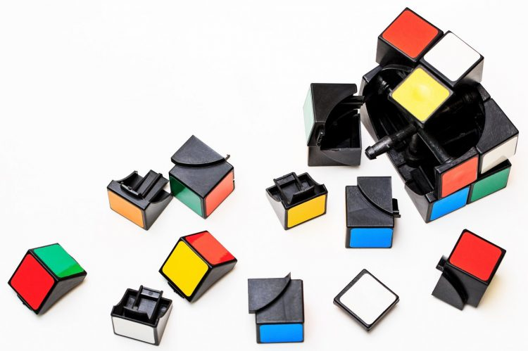 Pieces of a broken Rubik's Cube toy